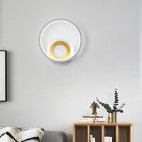 مصباح جداري ليد عصري خاتم أبيض اللون مصابيح مستديرة مربعة لغرفة النوم غرفة المعيشة السرير الإضاءة المنزل التعميم AC85 265V الجدار مصباح-في مصابيح الجدار الداخلي LED من مصابيح وإضاءات على
