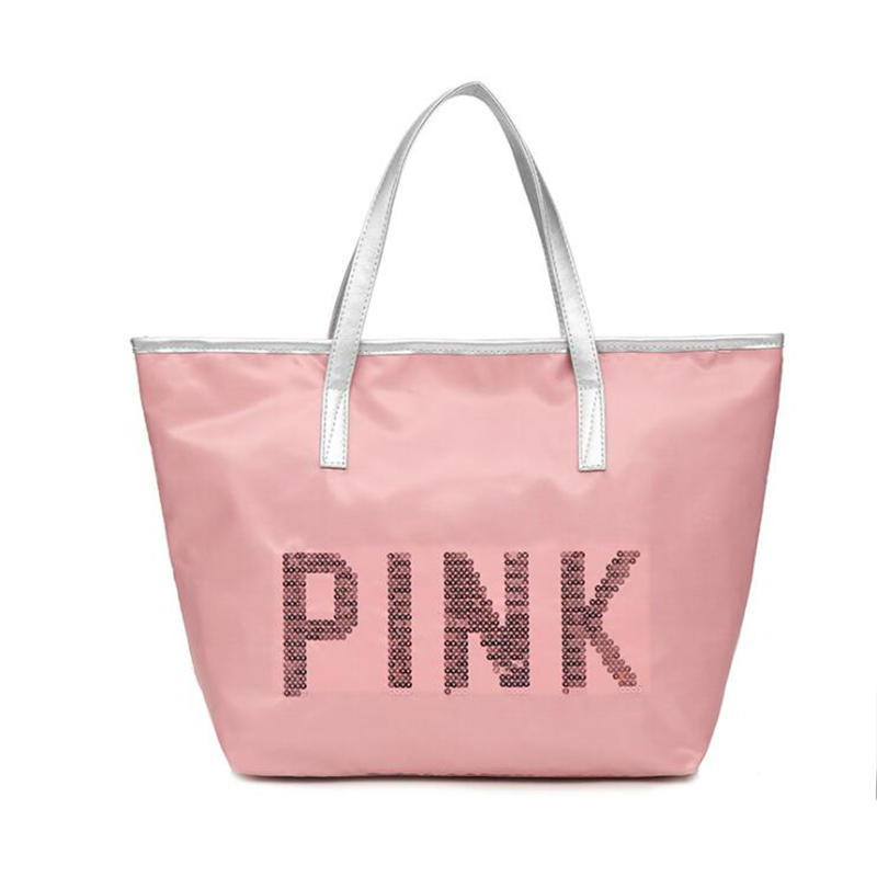 New short-distance large-capacity shoulder bag Korean sequin letter large capacity handbag leisure travel