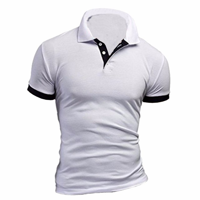 8 Colors 2017 New Brand Mens Polo Shirt Short Sleeve Contrast Color Polo Men Coton Casual Slim Fit Polo Homme Plus Size L-2XL