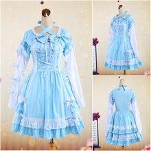 Kunden zu bestellen! V-1045 Blau Baumwolle Vollen ärmeln Gothic Lolita Kleid schuluniform Halloween Cosplay Cocktailkleid