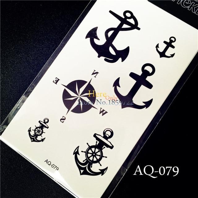 Wodoodporna Tatuaże Aq 079 Czarny Pirate Kotwica Morskie Kompas