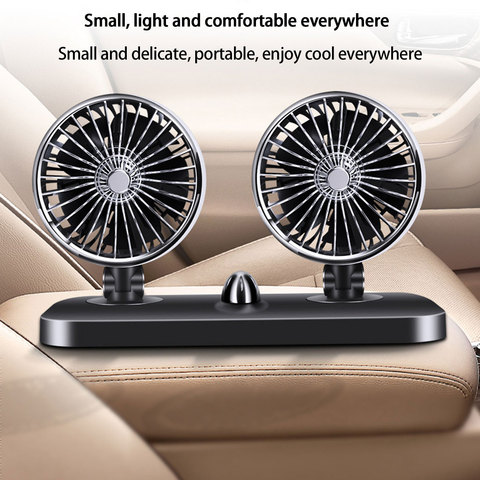 12V/24V Car Auto Air Cooling Fan 2 Speed Adjustable Dual Head Fan Low Noise Car Auto Cooler Air Fan Caravans Car Fan Accessories Lahore