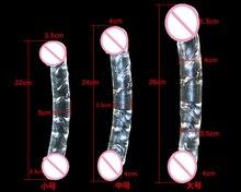 Cabezas de dos Extremos Pyrex Consolador De Cristal Del Pene de Cristal Transparente de la Próstata Masajeador del Punto G Femenino Masturbador Juguetes Sexuales Para Mujeres