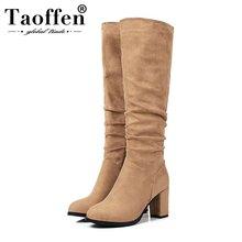 Taoffen – bottes hautes pour femme, couleur unie, fermeture éclair, talons épais, hauteur des genoux, quotidien, chaussures longues noires, tailles 30 à 43