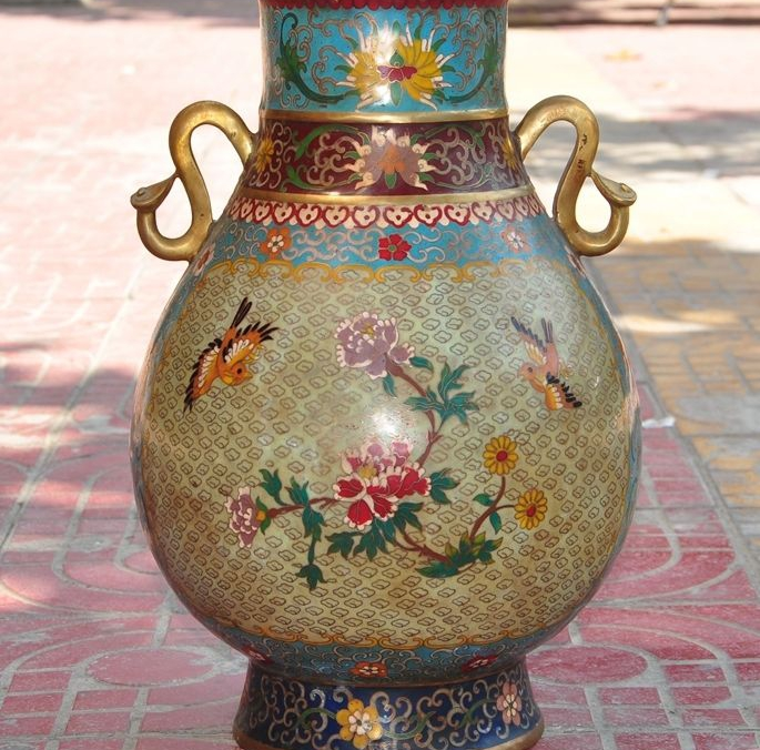 Marked China Palace Bronze Cloisonne Enamel Flower Bird Ruyi Bottle jar pot Vase