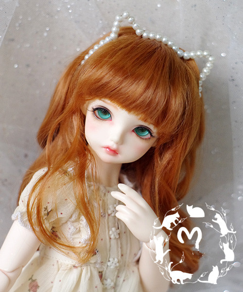 BJD Doll Wigs Orange Red Curly Hair Imitation Mohair Wigs For 1/3 1/4 1/6 BJD MSD MDD YOSD Doll Hair Wigs Doll Accessories