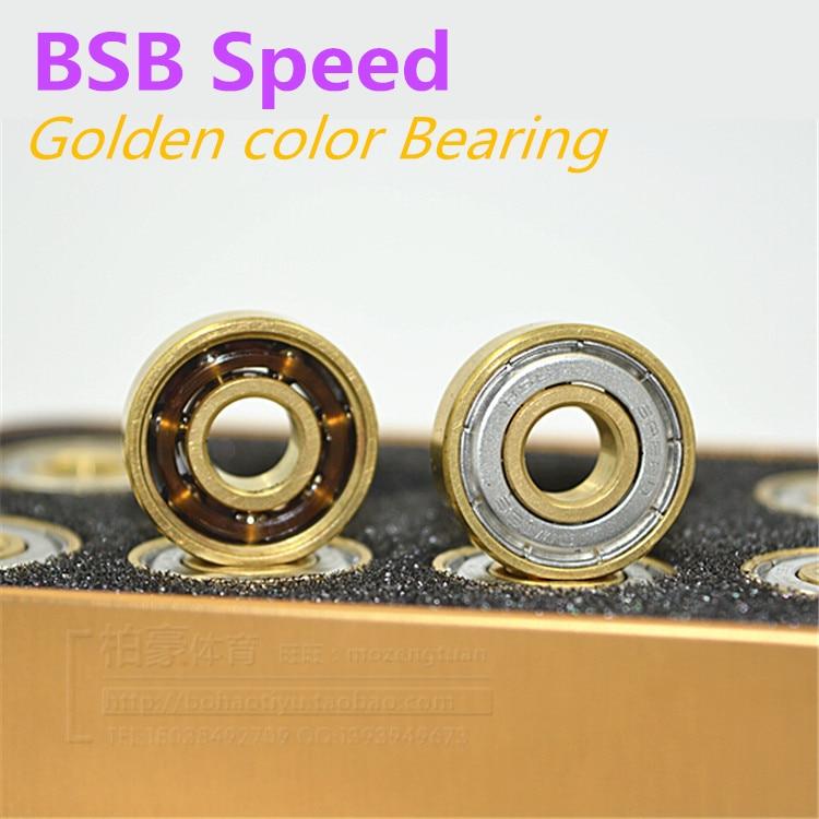 Prix pour 16 PCS BSB couleur dorée haute vitesse précise de patinage roulement, Or rouleau patins roulements, Skate en acier chromé 608 8 * 22 * 7 mm