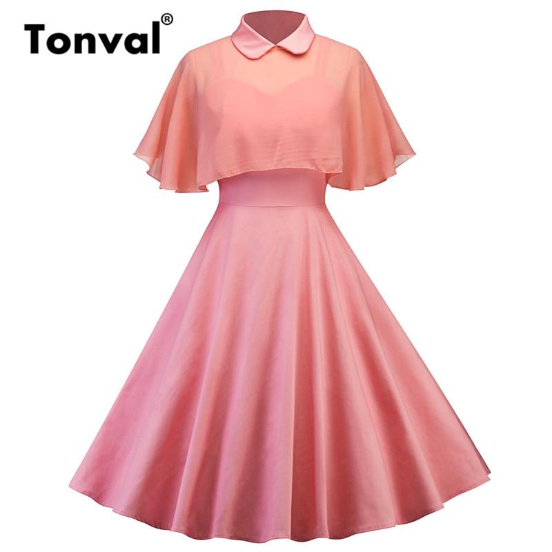 Tonval vintage púrpura vestido gasa del cabo dos piezas mujer verano ...