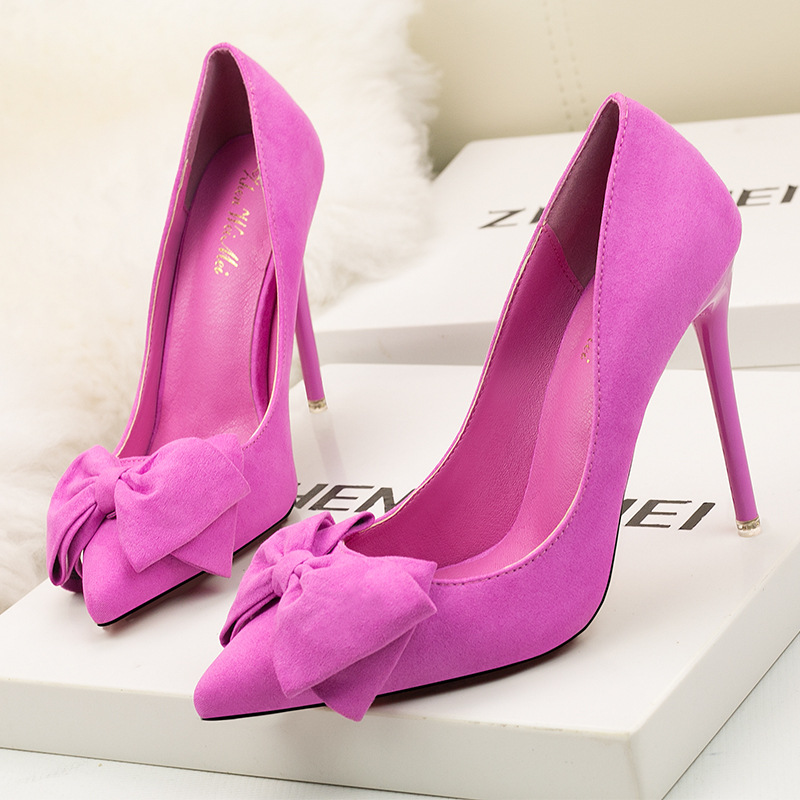 Korean Version 2019 New Fashion Sweet Stiletto Super High Heel Shallow Mouth Pointed Suede Bow Women's Shoes Wedding Shoes