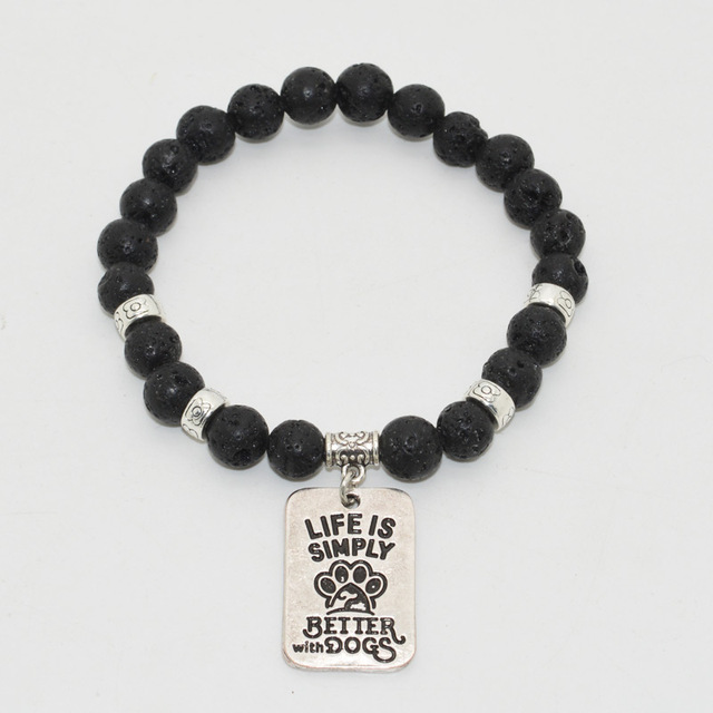 Casual Dog Patterned Onyx Beaded Bracelet