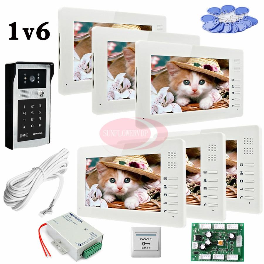 7 Цвет квартира видеодомофонов Дверные звонки 6 TFT ЖК-мониторы Ночное видение индуктивный карты/пароль разблокировки Камера