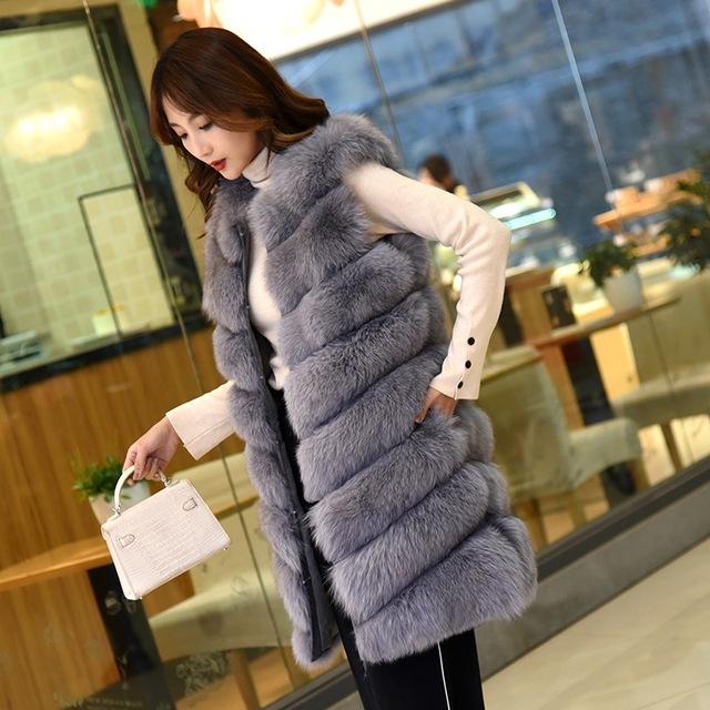 fur coatFox hair vest fur coat long vest lady autumn and winter new whole leather horse clip slim  hoody