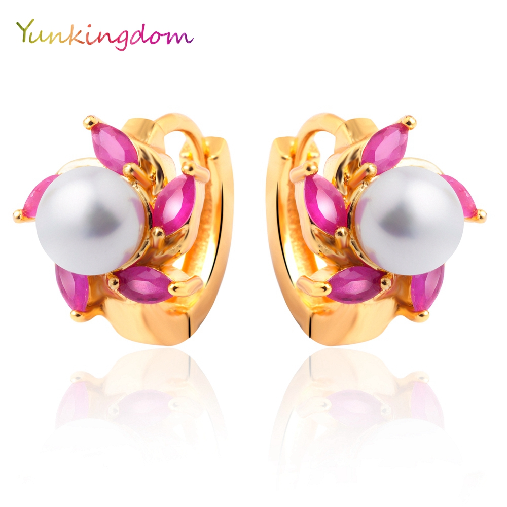 Yunkingdom Eleangt Round Simulated Pearl Hoop Earrings For Women Gold Color  Earrings Gifts New M0278(