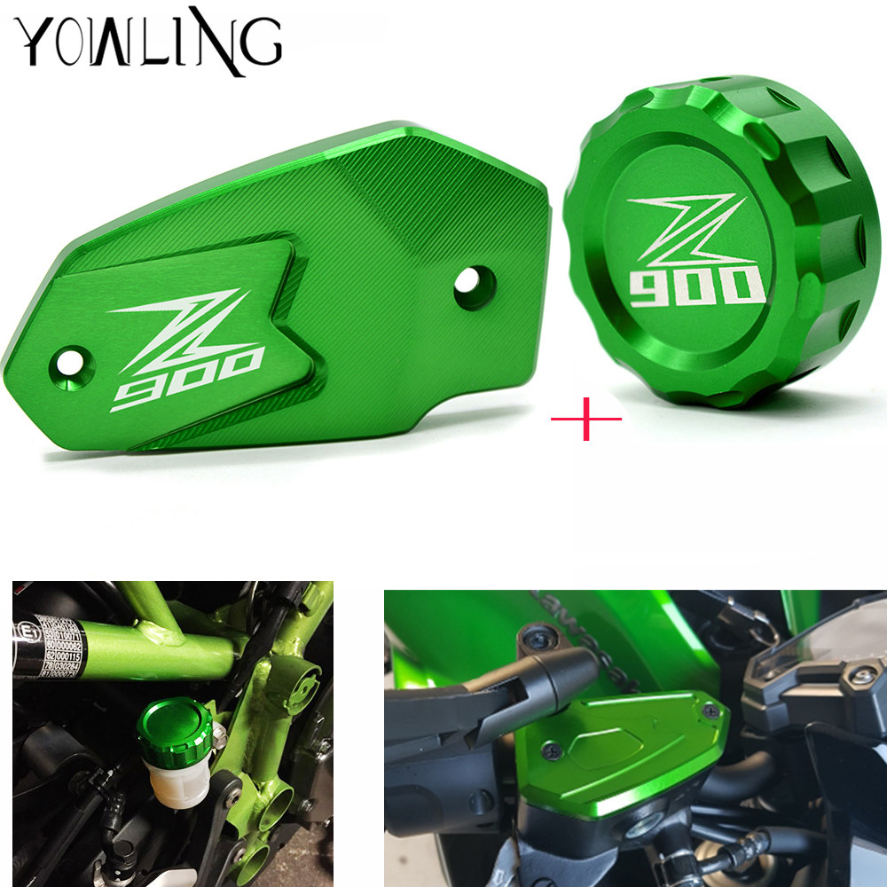 Z900 LOGO motorcycle accessories Rear brake reservoir cover caps Cylinder Reservoir Cover For Kawasaki Z900 2017 z800 2013 -2016 bjmoto motorcycle front brake fluid reservoir cap for kawasaki z800 z900 z650 er6n f versys650 ninja 650