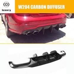 W204 C63 z włókna węglowego dyfuzor tylnego zderzaka Spoiler dla Benz W204 4 drzwi C180 C200 C300 sportowy zderzak i C63 Amg 2012-2014