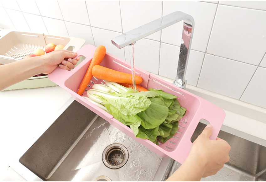 Image 4 - Kitchen Adjustable Sink Dish Drying Rack Organizer Sink Drain Basket Vegetable Fruit Holder Storage Rack 48*18.5*8cm-in Racks & Holders from Home & Garden
