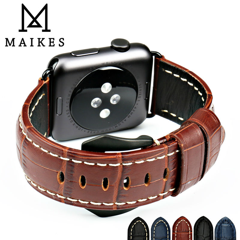 MAIKES New genuine leather watch strap brown men watchband watch accessories for iwatch series 2 & 1 Apple Watch bands 42mm 38mm kakapi crocodile skin genuine leather watchband with connector for apple watch 38mm series 2 series 1 pink