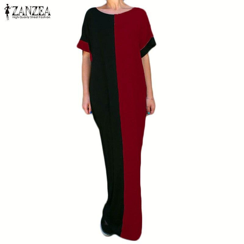 2018 ZANZEA Women O Neck Loose Splice Patchwork Long Maxi Dress Kaftan Long Shirt Dress Caftan Tops Plus Size Vestido