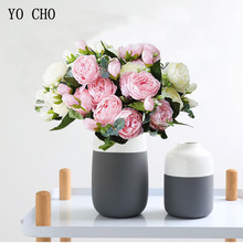 5 Heads/Bouquet Roses Artificial Flowers Fake Silk Peonies Bouquet Pink White Wedding Home Decoration Living room Centerpieces