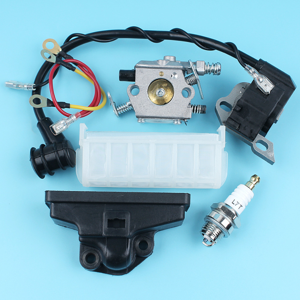 Carburetor Ignition Coil Spark Plug Air Filter Kit For Stihl 021 023 025 MS210 MS230 MS250 Chainsaw Replace Zama C1Q-S11E Parts 5pcs chainsaw switch parts throttle trigger fit stihl 021 023 025 ms210 ms230 ms250 replaces 1128 182 1005