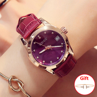 Hot Simple Stylish Top Luxury Brand Guou Watches Woman Top Quality Genuine Leather Strap Band Quartz