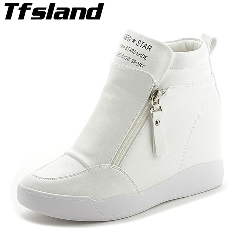 2019 Autumn Spring Thick Wedge Heel Boots Women Walking Shoes Height Increased Platform Sole Female Zippers Botas Mujer Sneakers