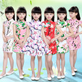 2016 Summer New Girls Dress Silk Flowers Cheongsam Silk Dress Baby Girl Clothing Girls Clothes Good Quality Cotton Princess