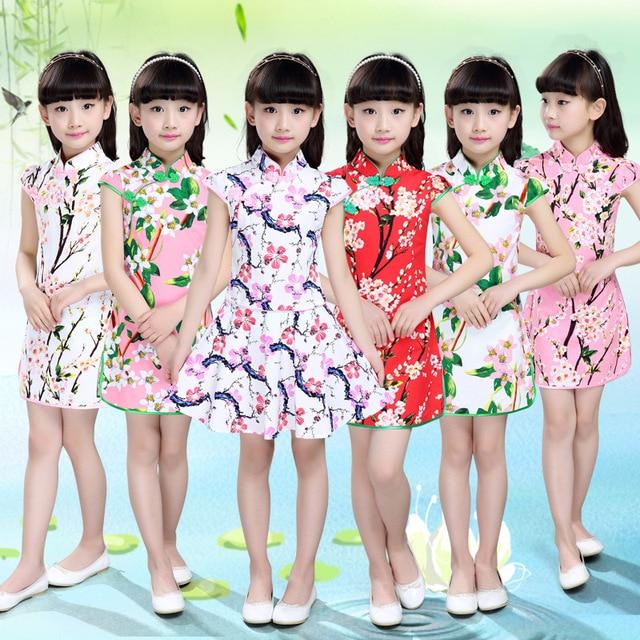 2016 Summer New Girls Dress Silk Flowers Cheongsam Silk Dress Baby Girl Clothing Girls Clothes Good Quality Cotton Princess