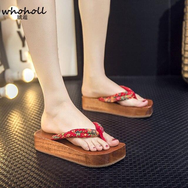 WHOHOLL Geta Japonês Geta Tamancos Cos Barco-em forma de Sandálias de Verão Mulheres Chinelos De Plataforma De Madeira das Mulheres Indoor Chinelos de Slides