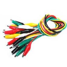 10 adet timsah klipler tel elektronik DIY testi kurşun timsah renkli çift uçlu timsah klipler Roach klip 50CM jumper tel