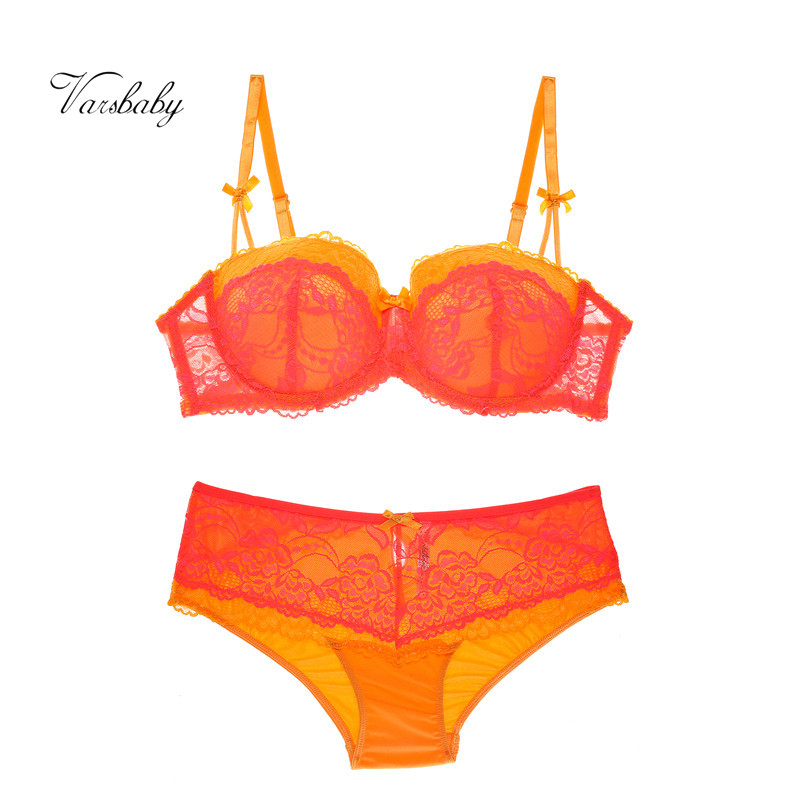 Varsbaby Sexy Underwear Set Large Size Gather Lingerie Set Underwire Lace Orange Plus Size Bra Set
