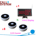 Hotel Paging Ordering System 1 screen receiver with 8 table bell buzzer shipping free