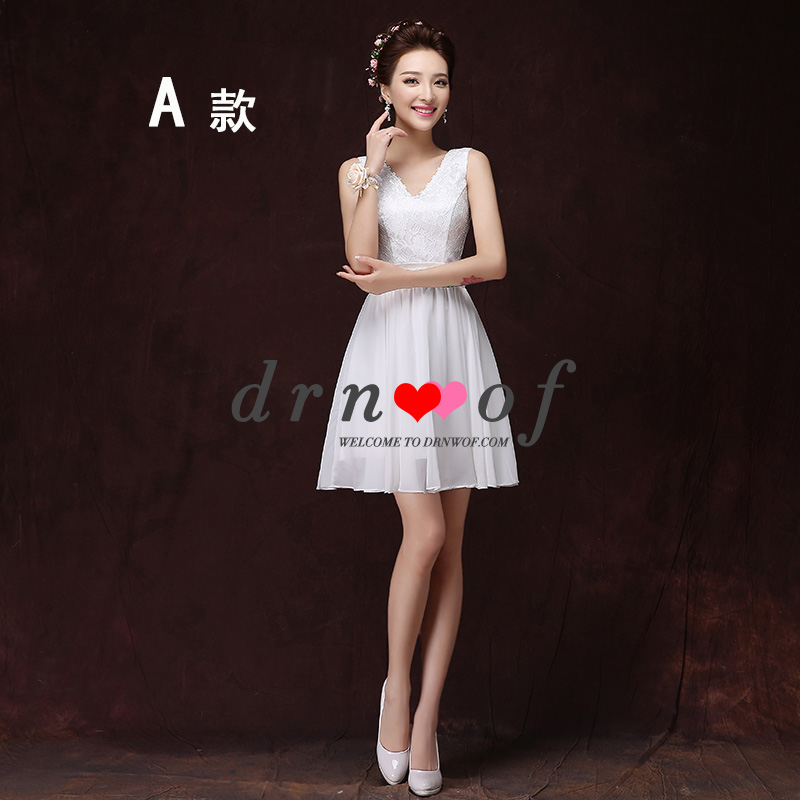 abc02839157 drnwof 2017 O-neck Cheap Chiffon Short Homecoming Dresses Color White Party  Dress A-Line Off the Shoulder Six Style Choose Small