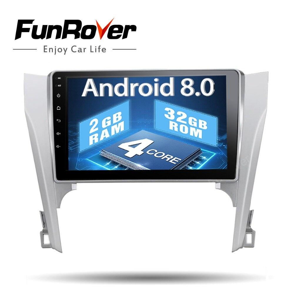 Funrover 1024*600 Auto 2 din Android 8.0 GPS Navi per Toyota Camry 12-14 autoradio di navigazione testa unità multimediale Quad Core BT