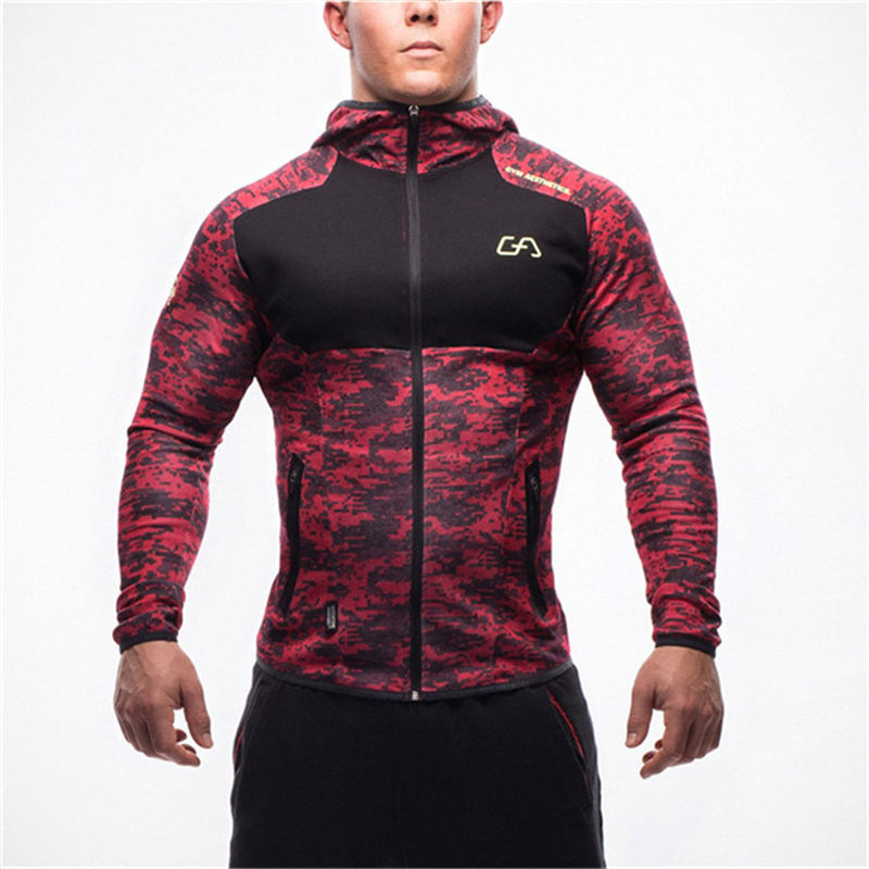 Image 2 - Men fitness bodybuilding Camouflage sweatshirt Hoodie Gyms workout Hooded zipper jacket male Joggers Sportswear Brand clothing-in Hoodies & Sweatshirts from Men's Clothing