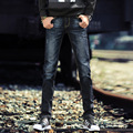Мужская четыре сезона мода джинсы микро-бомбы Тонкий небольшой прямой мужские брюки Корейский прилив брюки