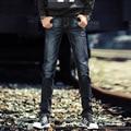 Men's four seasons fashion jeans  micro-bomb Slim small straight men's trousers Korean tide trousers
