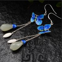 S925 Silver Burning Blue Earrings Thai Silver Vintage Fashion Cloisonne Goldfish Pearl Stud Earrings Women's Earrings