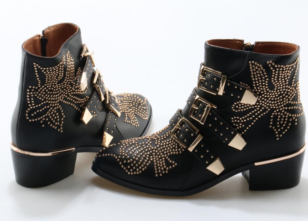 Metal moda Fivela Ankle Boots Mulheres De Couro Cravejado pontas strass Toe tornozelo fivela plana botas fotos reais - 5