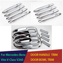Accessories Door Handle Cover and Bowl Insert Trim With Smart Hole Chrome  For Mercedes Benz Vito W447 V260L V260 2014-2018