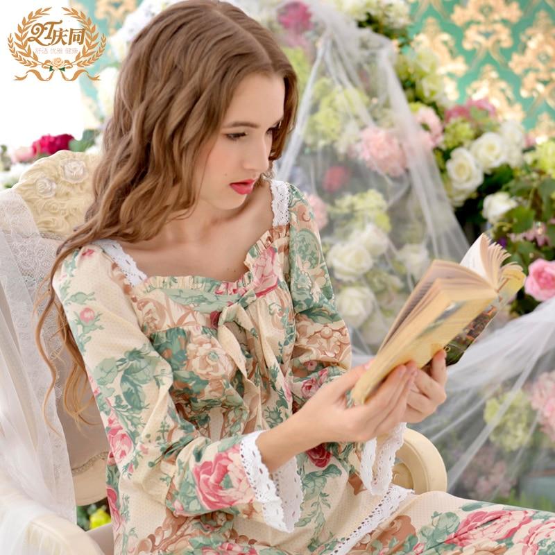 Pijama Promotion Pijamas New 2017 Women Pajama Sets 100% Cotton Sleepwear Long Sleeve Floral Lounge Set Leisure Homewear 5colors