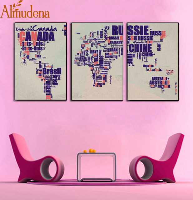 Almudena nordic style abstract world map canvas painting no frame almudena nordic style abstract world map canvas painting no frame living room wall art picture modern sciox Images