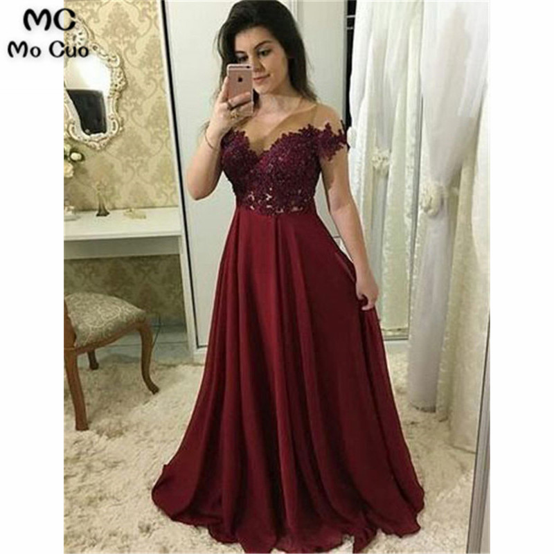 2019 Off Shoulder Burgundy Evening Dress For Teens With Appliques Vestidos De Fiesta Chiffon A-Line Evening Prom Party Dress