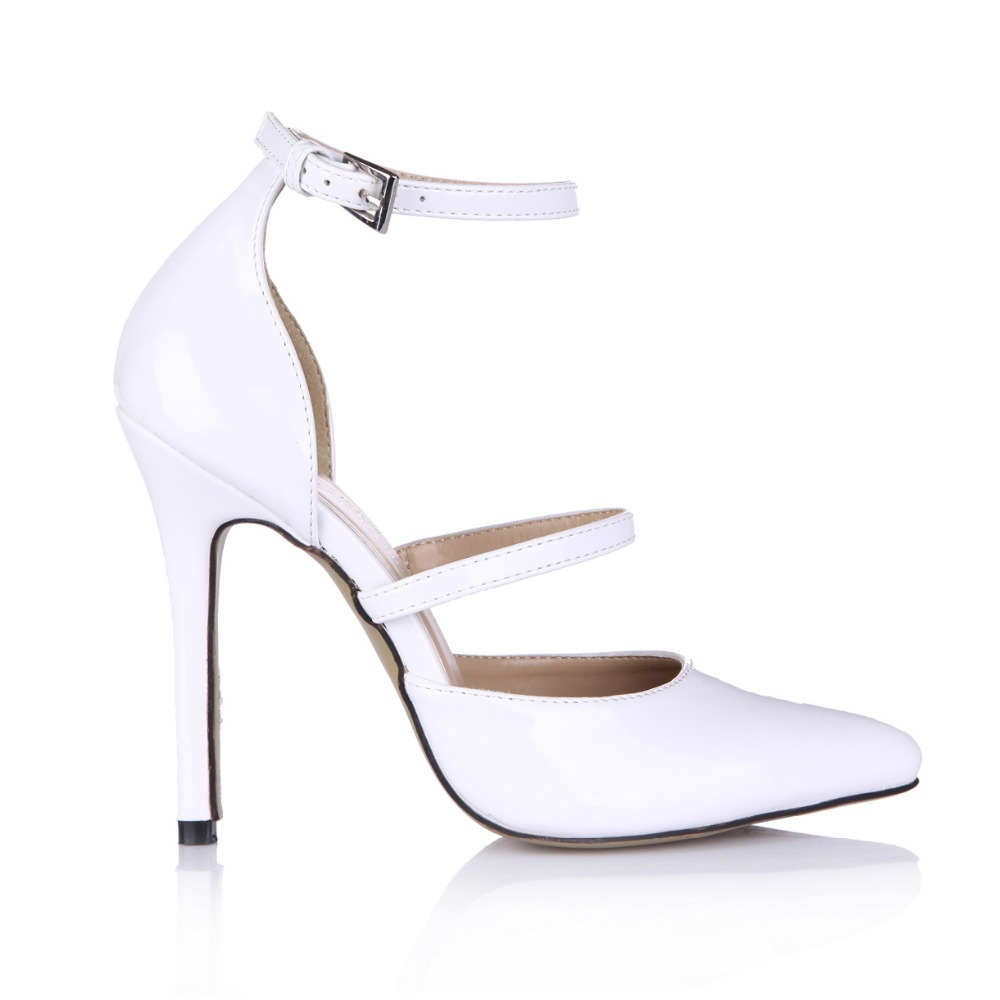 Brand Classice Ankle Strap Women Shoes High Heels Pointed Toe Womens Sandals Summer 2016 Stiletto Heel Party Wedding Dress Pumps wholesale lttl new spring summer high heels shoes stiletto heel flock pointed toe sandals fashion ankle straps women party shoes