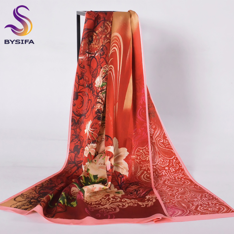 [BYSIF] Fashion   Scarves   and Shawls Ladies Winter Dark Red Lily Flower Design Brand Crepe Satin Silk Long   Scarves     Wraps   Bufandas
