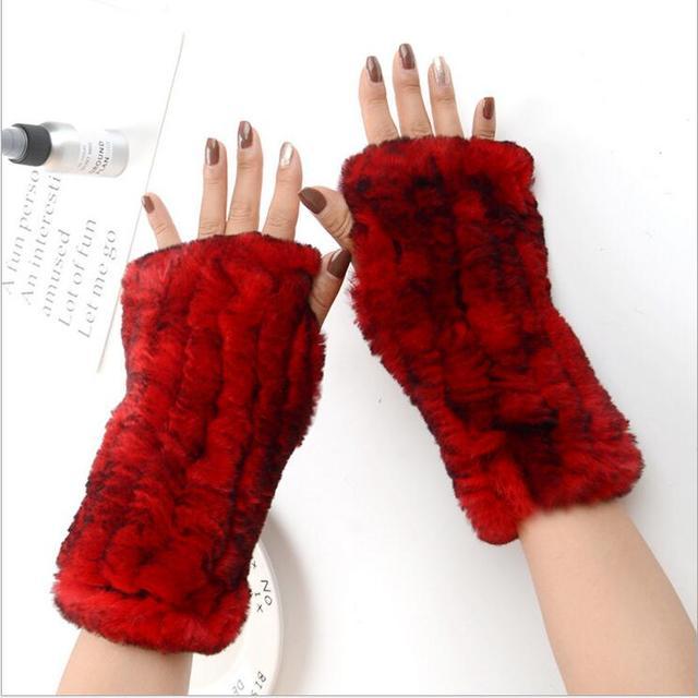 Frauen 100% Echt Echte Gestrickte Rex Kaninchen Pelz Winter Fingerlose warme weiche Handschuhe Fäustlinge Arm Hülse