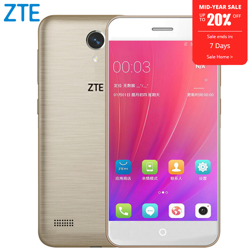 Original ZTE Blade A520 Mobile Phone 5.0 inch Quad Core 2G RAM 16G ROM Dual SIM Cards Front & Back Camera Android 6.0