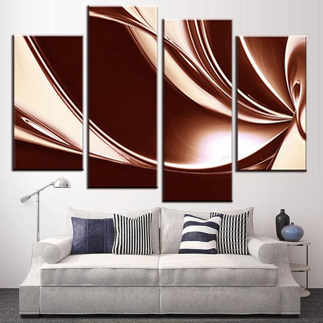 4 Pcs Set Modern Abstract Wall Painting Brown Cream Digital Canvas Art Picture Combined