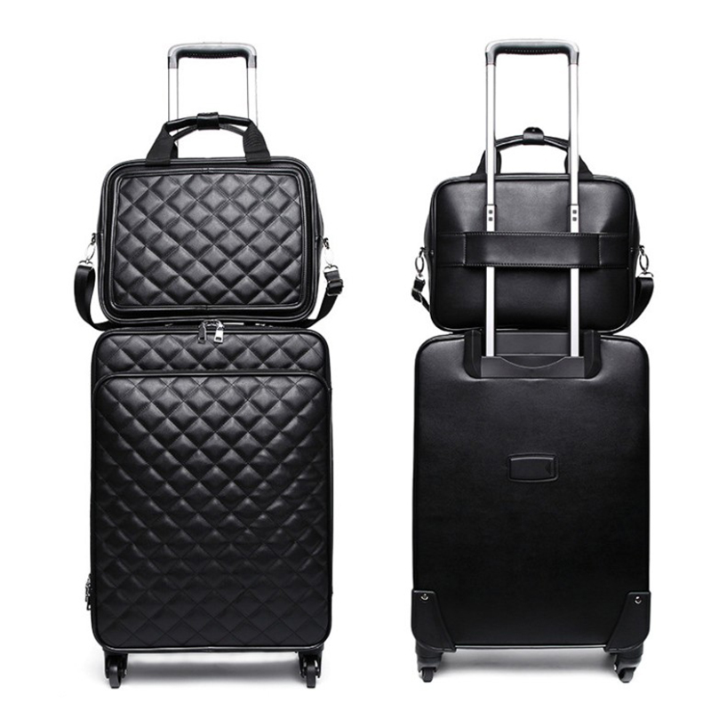 Fashion high quality women spinner rolling luggage set 24 inch lady s cabin trolley bag leather