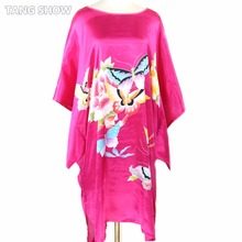 Hot Pink Women's Summer Loose Home Dress Silk Rayon Kimono Robe Gown Printed Sleepshirt Nightgown Butterfly&Flower One Size
